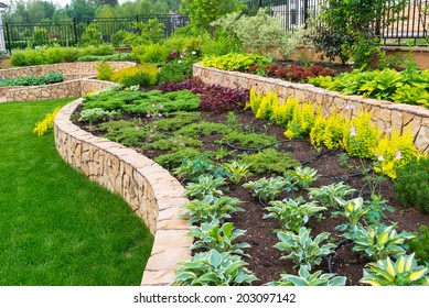 Landscape design in luxury backyard of residential house. Natural stone landscaping in nice home garden. Beautiful green landscaped yard with plants and flowers in summer.