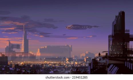 landscape digital painting of sci-fi city,illustration art