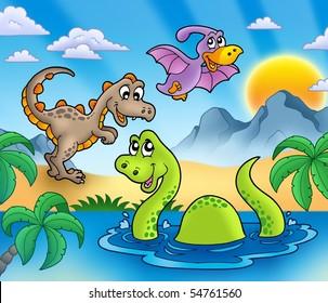 Landscape with dinosaurs 1 - color illustration.
