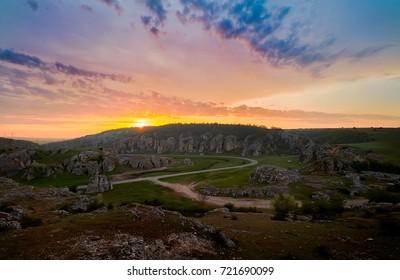 landscape from Dobrogea at sunrise, Romania