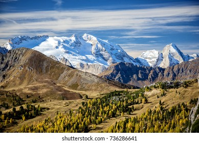 Landscape of the Dolomites with the glacier of Marmolada. Trentino. Italy