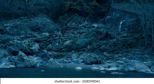 landscape of dramatic abandon river bank in nature
