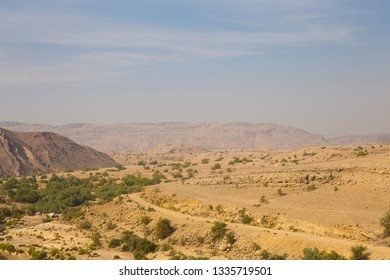 Landscape with dry land and mountains near ranikot fort, Sindh Pakistan