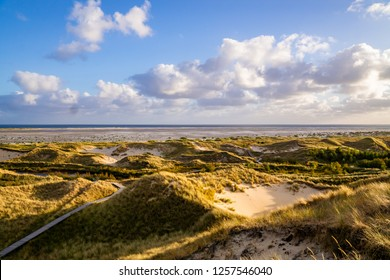Landscape of dunes at sunset in Amrum Germany in the Northern Sea.