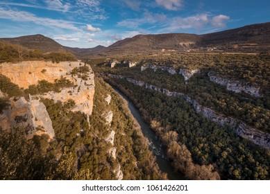 Landscape of Ebro river canyon at sunset in Burgos, Castilla y Leon, Spain.