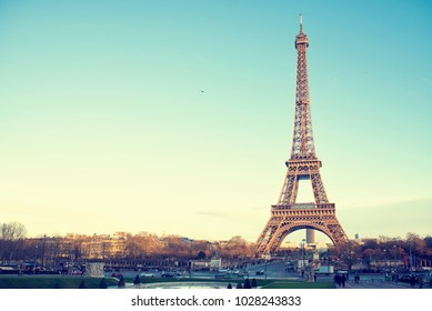 Landscape of the Eiffel Tower of Paris in a sunset