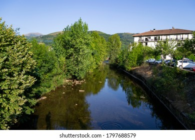 The landscape of Elizondo in Navarra with the Baztán river. Elizondo is a town in the Foral Community of Navarra, located in the center of the Baztán valley