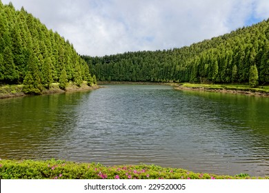 Landscape of Empadadas Lake. Sao Miguel Island, Azores.