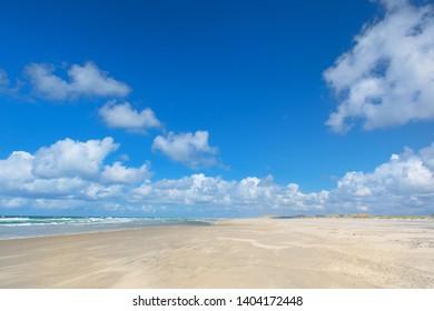 Landscape empty beach at Dutch island Terschelling