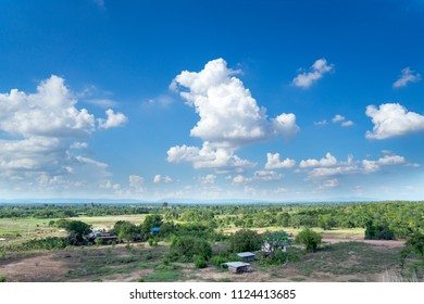 Landscape of empty land plot for industrial development, real estate or housing construction project in rural area with green environment and beautiful blue sky with fresh air  Land for sales  concept