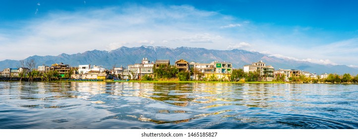 Landscape of Erhai Lake, Dali Ancient City (Dali Old Town) and Cangshan Mountain. Located in Dali, Yunnan, China.