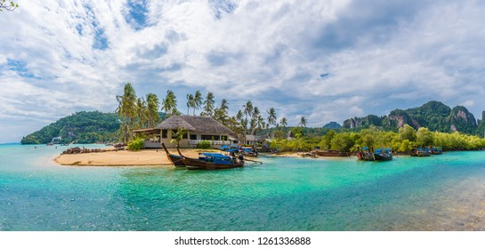 Landscape with exotic beach Loh ba kao Bay on Phi Phi island, Krabi Province, Andaman Sea, Thailand