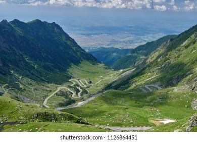 Landscape in Fagaras mountains in Romania, with Transfagarasan road