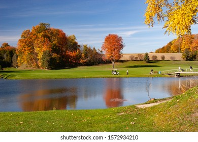 landscape fall foliage and lake at Golf Course