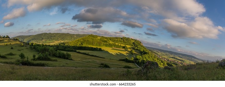 Landscape of the famous hill Walberla at the franconian suisse in Bavaria in south Germany during summer
