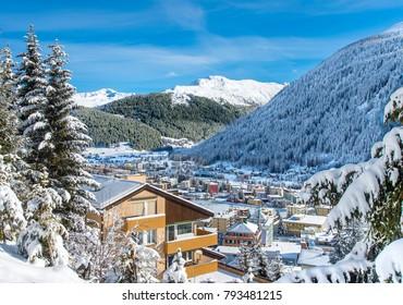 Landscape  of famous ice skating rink  in  winter resort Davos, Switzerland.