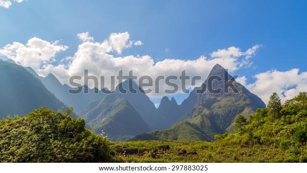 Landscape Fansipan mountain eco-tourism, Hoang Lien National Park, Lao cai province northern Vietnam