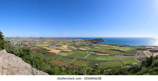 Landscape of Farm filed in Daejeong-eup and Hangyeong-myeon with Suwolbong peak, viewed from the summit of Dang Oreum in Jeju island, Korea.