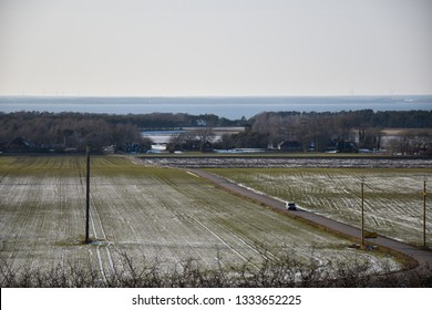 Landscape with farmers fields in winter time at the swedish island Oland