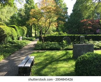 Landscape of Feldli Cemetery in Saint Gallen (Landschaft des Friedhofs Feldli in Sankt Gallen), St. Gallen - Switzerland (Schweiz) - Shutterstock ID 2004845426