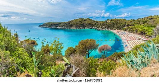 Landscape with Fetovaia beach on Elba island, Tuscany, Italy