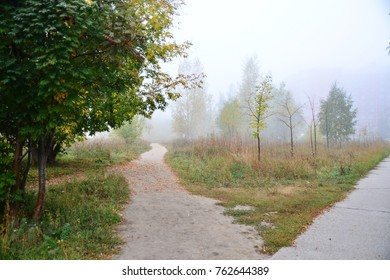 A landscape with fog in Novosibirsk, Russia.