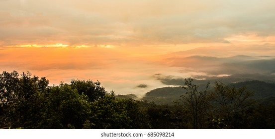 Landscape of fog on high mountain