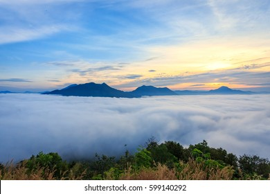 Landscape lot of fog Phu Thok Mountain at Chiang Khan ,Loei Province in Thailand.
