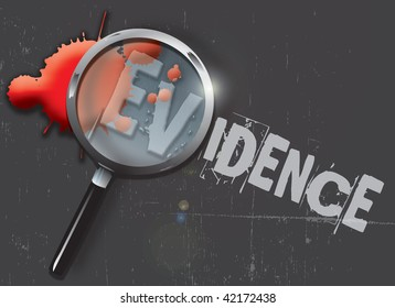 A landscape format illustration of blood spatters on a slate grey grunge style background, with a magnifying glass highlighting the word evidence.