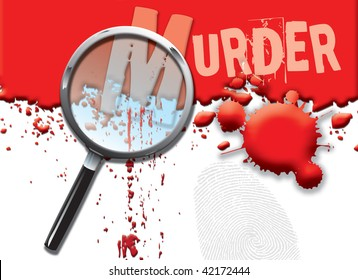 A landscape format illustration of blood spatters on a white background, with a magnifying glass highlighting the word murder.