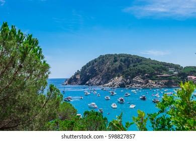 Landscape Fosca beach in Palamos, Costa brava (Spain)