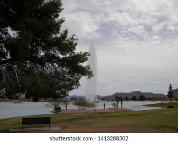 Landscape of The Fountain, located in Fountain Park, is the world's fourth-tallest fountain in Fountain Hills, Arizona