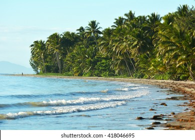 Landscape of Four Mile Beach in Port Douglas at the tropical north of  Queensland,  Australia