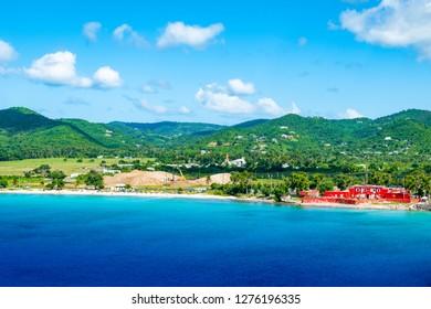 Landscape of Frederiksted with old Fort Frederik, Saint Croix, United States Virgin Islands.