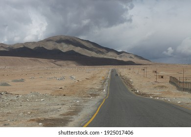 A landscape of freeway with beautiful cloud and sky at Leh, Ladakh, India