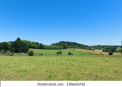 Landscape in French Limousin with green hills