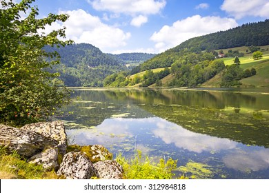 Landscape with the French and Swiss River Doubs, Franche-Comte, France.