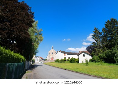 Landscape with French village Saint-Meard in French Limousin