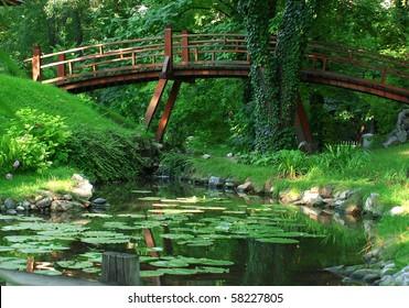 Landscape Garden with Bridge and Lake