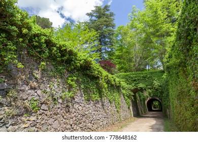 Landscape in Garrotxa region,touristic route,Ruta del carrilet in Olot,Catalonia,Spain.