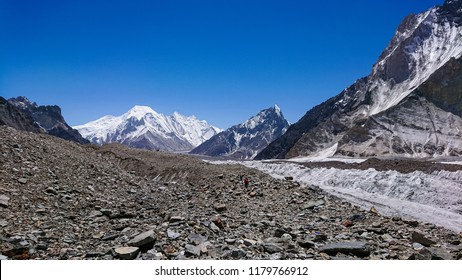 Landscape of Gasherbrum massif and Baltoro glacier, K2 Base Camp, Pakistan