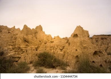 Landscape of geological formations of Aguadem de Valdemira or also called Aguaral de Valpalmas in zaragoza spain