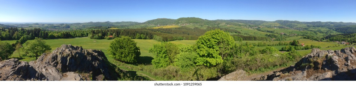 a landscape in the Rhön (Germany) with a view of the Wasserkuppe