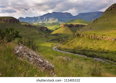 Landscape at Giants castle in the Drakensberg mountains