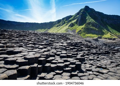 Landscape of Giant's Causeway trail with a blue sky in summer in Northern Ireland, County Antrim. UNESCO heritage. It is an area of basalt columns, the result of an ancient volcanic fissure eruption