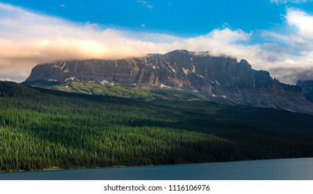 Landscape of Glacier National Park in the ealry summer