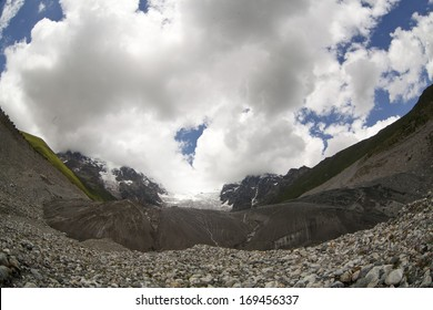 Landscape of glacier in Swanetia region, Georgia