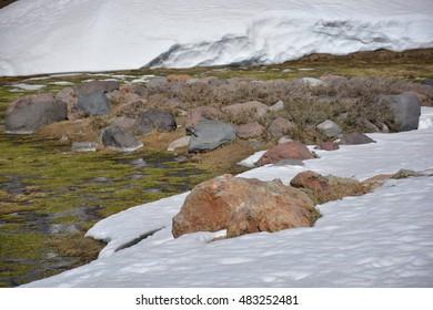 landscape of glacier and volcano in Chile