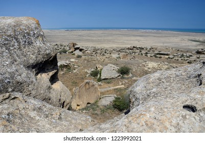 Landscape of Gobustan Natural park, Azerbaijan,was established in 1966 to preserve the ancient carvings, mud volcanoes and gas-stones in the region