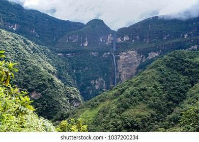 Landscape of Gocta waterfall in Peru.